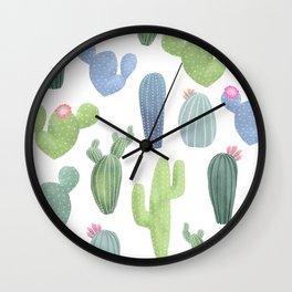 watercolor cacti plants pattern Wall Clock