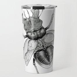 Dotwork Flying Beetle Illustration Travel Mug