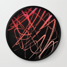 Salmon Pink Wavy Lines on Black Wall Clock