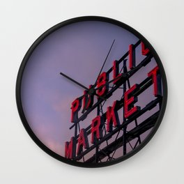 Pike Place Neon Sunrise Wall Clock