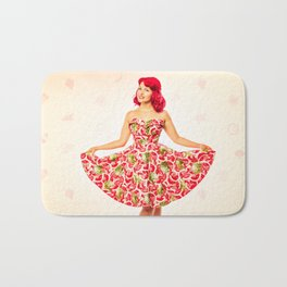 """Check Out These Melons"" - The Playful Pinup - Girl in Watermelon Dress by Maxwell H. Johnson Bath Mat"