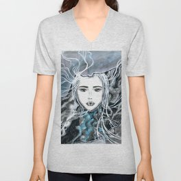 Girl Portrait Drawing Unisex V-Neck