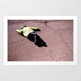 Green Coat on Asphalt Art Print