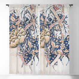 Design for Windrush by William Morris 1883 // Romanticism Blue Red Yellow Color Filled Floral Design Blackout Curtain