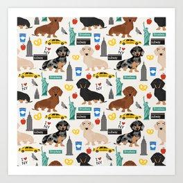 Dachshund dog breed NYC new york city pet pattern doxie coats dapple merle red black and tan Art Print