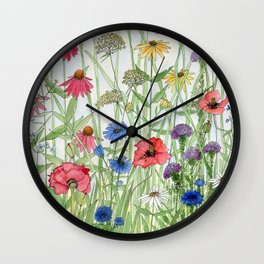 Watercolor of Garden Flower Medley Wall Clock