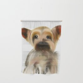 Yorkie Puppy on White  Wall Hanging