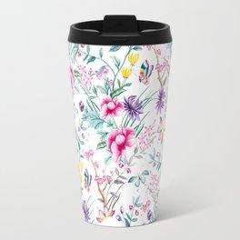 Floral Chinoiserie - White Travel Mug