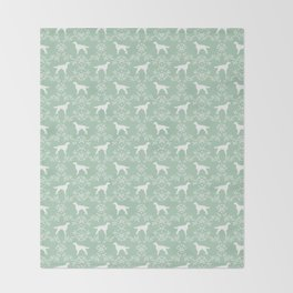 Irish Setter floral dog breed silhouette minimal pattern mint and white dogs silhouettes Throw Blanket