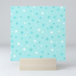 AFE Turquoise Snowflakes Mini Art Print