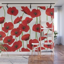 Poppies Flowers red field white background pattern Wall Mural