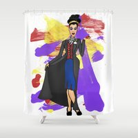 evil queen Shower Curtains featuring Disneyland The Evil Queen Evil Relations  by Joey Noble