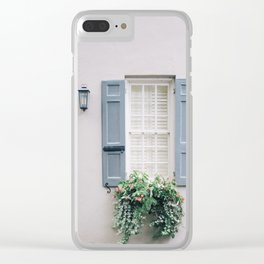Charleston Blue Shutters with Wood Door Clear iPhone Case