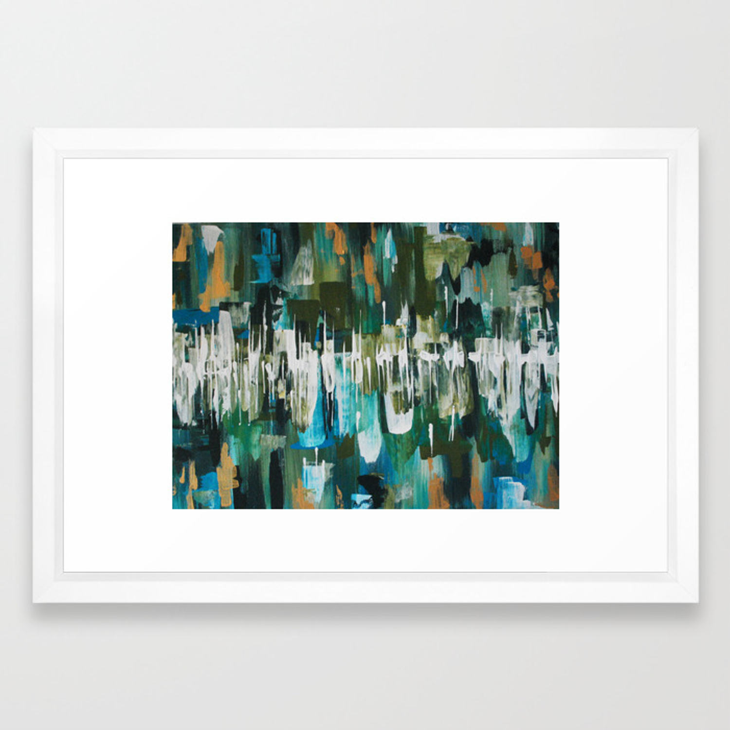 Acrylic blue green and gold abstract painting framed art print