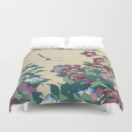 Hokusai (1760-1849) Bell-flowers and Dragonfly Duvet Cover