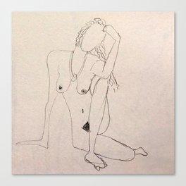 seated nude - pencil sketch Canvas Print