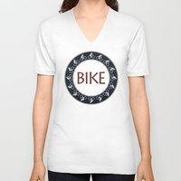 bike V-neck T-shirts featuring Bike by Phil Perkins