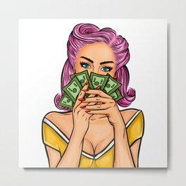 Pop pin up money Metal Print