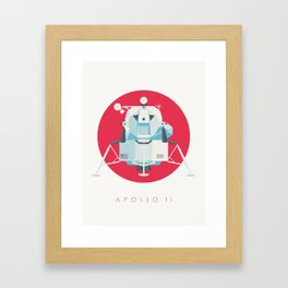 Apollo 11 Lunar Lander Module - Text Crimson Framed Art Print