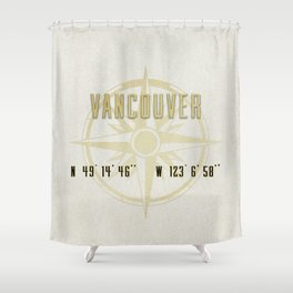 Vancouver - Vintage Map and Location Shower Curtain