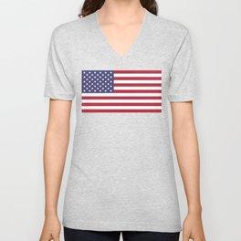 US Flag - Authentic colors Unisex V-Neck