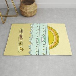 keep it simple // single fin // retro surf art by surfy birdy Rug