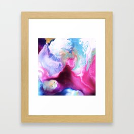Rainbow Down Abstract Watercolor Painting Framed Art Print