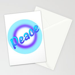 Peace white purple circle cyan Stationery Cards