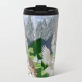 Lady with an owl and a dog Travel Mug