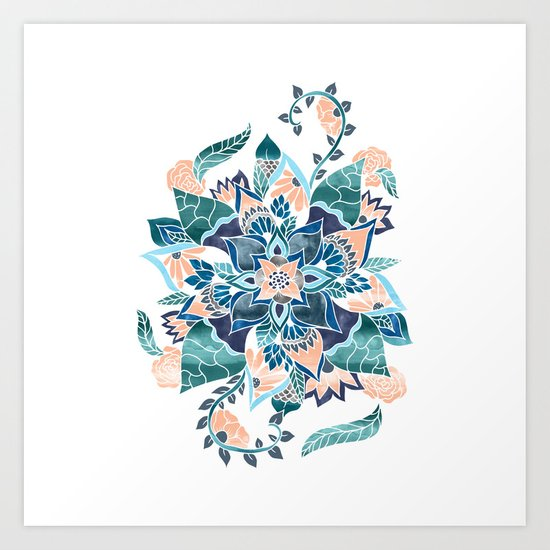 Modern coral blue watercolor floral illustration  Art Print