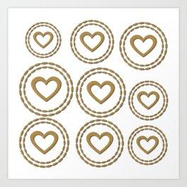 Cute Gold Hearts Pattern Art Print
