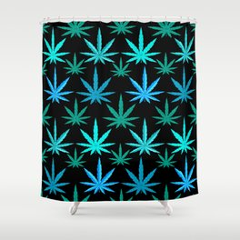 Marijuana Teal Turquoise Weed Shower Curtain