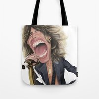 tyler spangler Tote Bags featuring Steven Tyler by Sant Toscanni