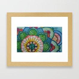 Fleur de la vie mandala vert Framed Art Print