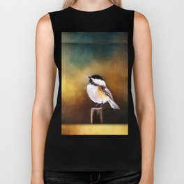 Chickadee in Morning Prayer Biker Tank