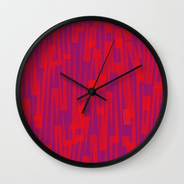 Geometric Red Purple Painting Wall Clock