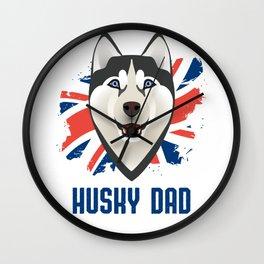Husky Dad with Union Jack Wall Clock
