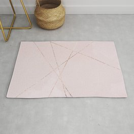 Geometrical blush pink rose gold glitter lines Rug