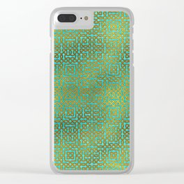 Golden Embossed Celtic Pattern on teal wood Clear iPhone Case