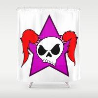 rock n roll Shower Curtains featuring Rock-N-Roll Brat  by Los Espada Art