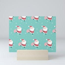 Happy Santa Christmas Pattern Mini Art Print