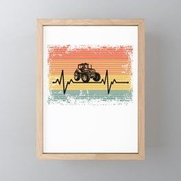 Vintage Heartbeat Tractor Retro Gift Idea Framed Mini Art Print