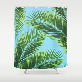 Tropical Palm Leaf Pattern 2 - Tropical Wall Art - Summer Vibes - Modern, Minimal - Green, Blue Shower Curtain