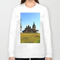russia Long Sleeve T-shirts featuring Wooden Church, Merkushino, Russia by Svetlana Korneliuk