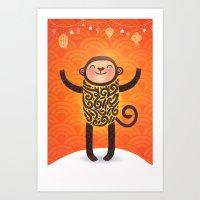 monkey Art Prints featuring Monkey by Anna Alekseeva kostolom3000