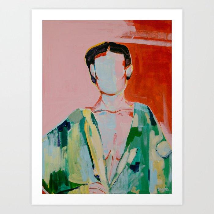 Woman red and green Kunstdrucke