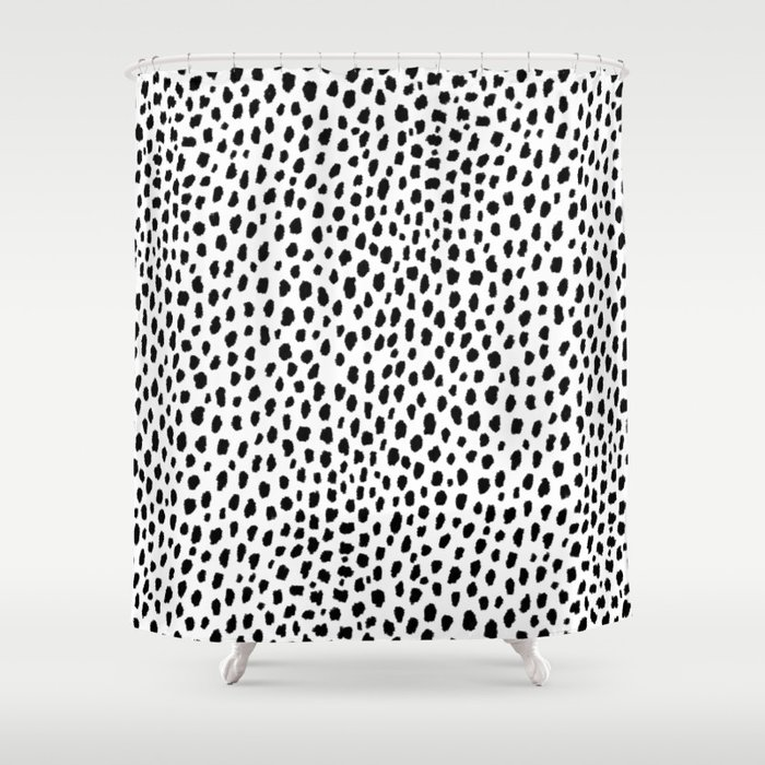 Dalmatian Spots (black/white) Shower Curtain