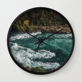 River with Rapids | Autumn Hills | Fall Colours | Landscape Photography Wall Clock