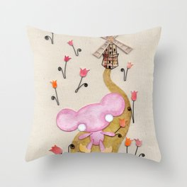 A Mouse With Clogs On, By A Windmill Throw Pillow