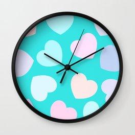 vibrant pastel hearts Wall Clock